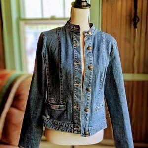 Vtg Casual corner denim jacket, size 8 beaded